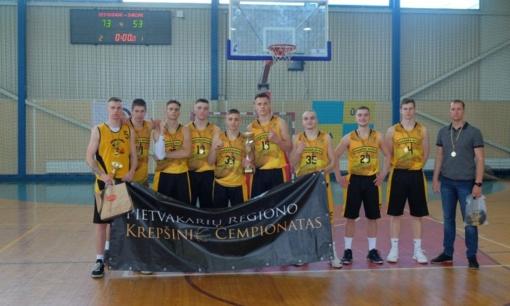 """Pietvakarių regiono krepšinio čempionai 2000-02 m. amžiaus grupėje – Varėnos """"Bitės"""" krepšininkai"""