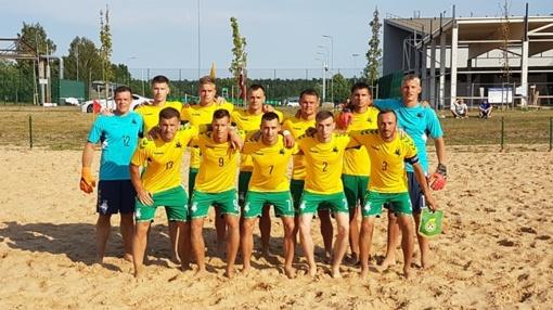 Prienuose - pirmoji paplūdimio futbolo rinktinės pergalė