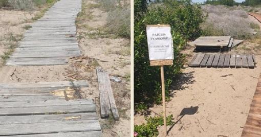 Takelis į moterų pliažą - tik jogams