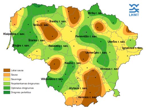 Stichinė sausra laikosi trijose Pietų Lietuvos savivaldybėse