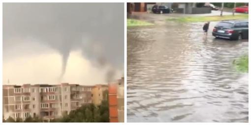 Vakaras Šiauliuose: skendo automobiliai, pylė kruša ir sukosi tornadas