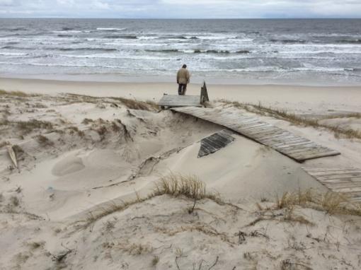 Kuršių nerijoje baigta tvarkyti audringos jūros žiemą apgadinta aplinka