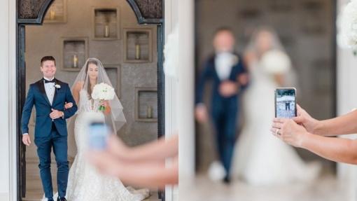 Vestuvių fotografė kreipėsi į nekantrius, nuotraukas gadinančius svečius: mėgaukitės akimirka, o ne stebėkite ją iš už ekrano