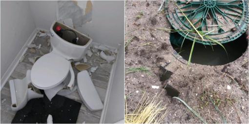 Floridoje žaibas susprogdino tualetą