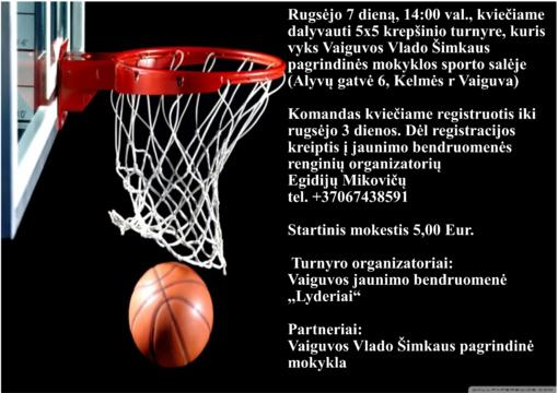 """Kelmės rajono vyrų krepšinio varžybos 5x5 Vaiguvos jaunimo bendruomenės """"Lyderiai"""" taurei laimėti"""