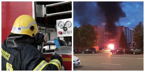 Konteinerių gaisras kėsinasi ir į gyventojų automobilius