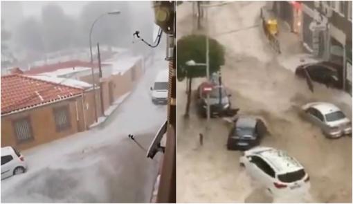 Smarki audra smogė Madridui: dalis vietovių beveik atsidūrė po vandeniu (vaizdo įrašas)