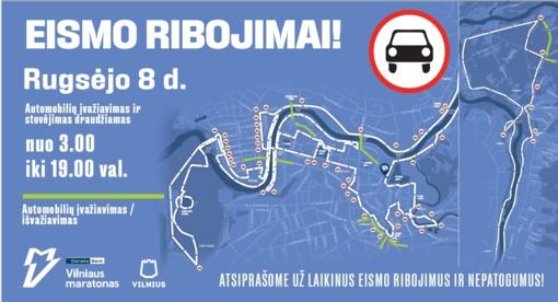 """Rugsėjo 8 d. """"Danske Bank Vilniaus maratono"""" metu – eismo ribojimai ir viešojo transporto pakeitimai"""