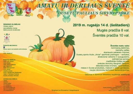 Dusetų Pauliaus Širvio parke vyks amatų ir derliaus šventė