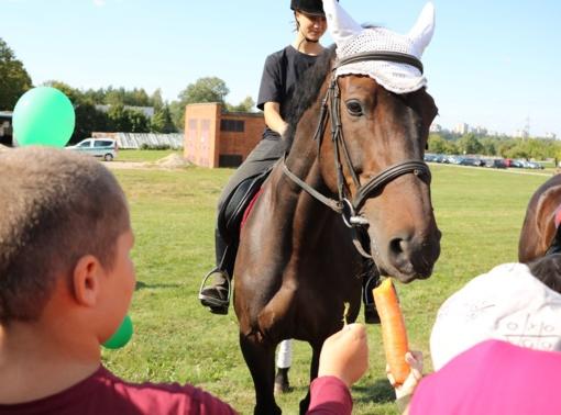 Kauno pareigūnų staigmena mažiesiems - žirgų terapija