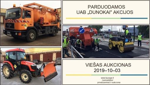 """Parduodamos UAB """"Dunokai"""" (56,14 %) akcijos"""