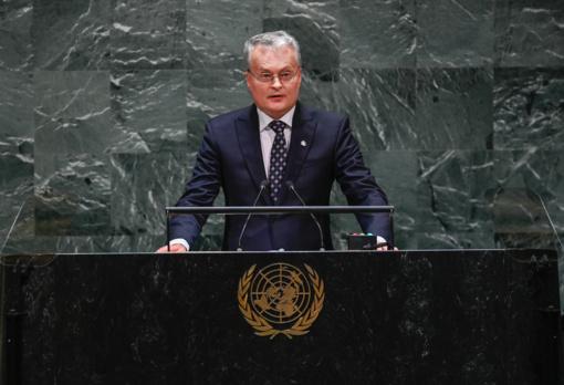 Pirmoji Rusijos kritika G. Nausėdai: kalbą JT įvertino kaip konfrontacijos su Rusija manifestą