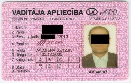Vairuotojo pažymėjimą pragėręs latvis apsirūpino klastote