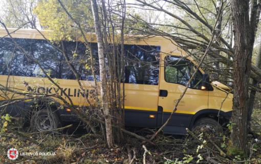 Šiaulių rajone vairuotojas pasijuto blogai ir nesuvaldė mokyklinio autobusiuko