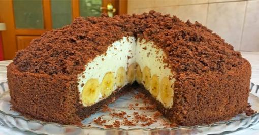 Pats skaniausias tortas su bananais. Pirštus apsilaižysite!