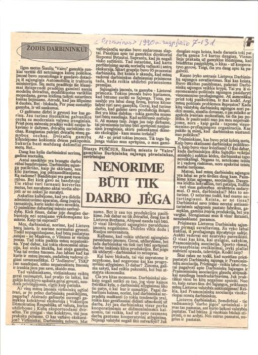 Darbininkų balsas atkūrus Lietuvos nepriklausomybę