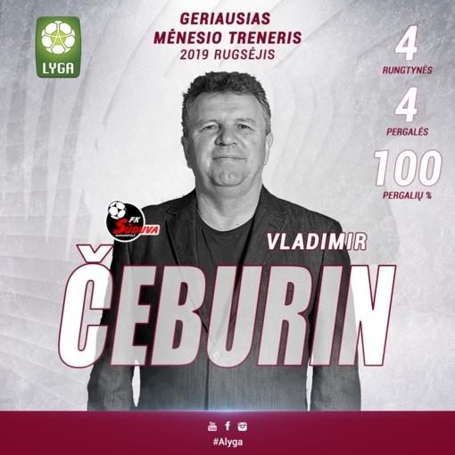 """""""Sūduvos"""" treneris V. Čeburinas antrą kartą šiemet sulaukė įvertinimo"""