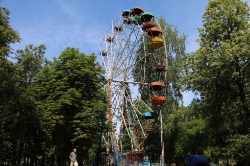 Surūdijusį parko apžvalgos ratą žadama demontuoti