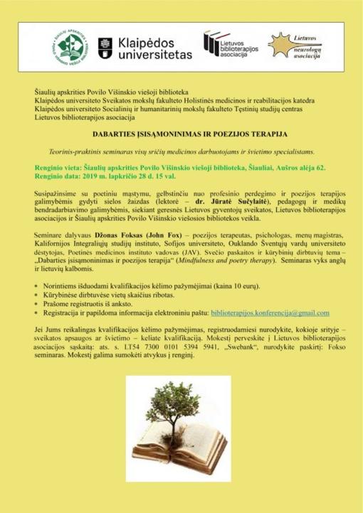 """Teorinis-praktinis seminaras """"Dabarties įsisąmoninimas ir poezijos terapija"""""""