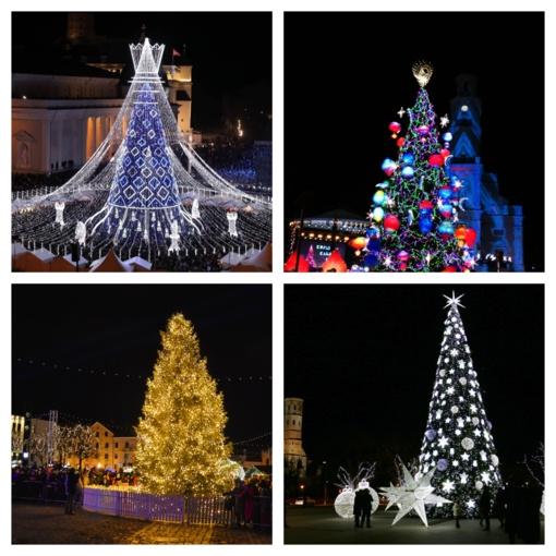 Didmiesčiuose sužibo Kalėdų eglės: palyginkite, kaip jos pasikeitė per metus