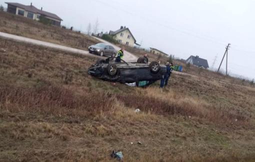 Alytaus rajone apvirto automobilis