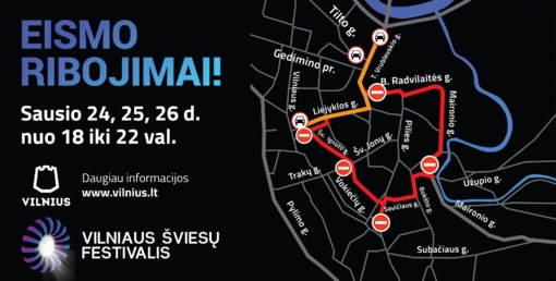 Šviesų festivalio Vilniuje metu – laikini eismo ribojimai