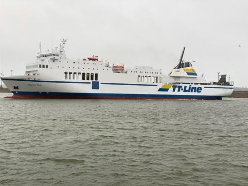 """""""TT-Line"""" keltas prisišvartavo Klaipėdoje naujai įrengtame terminale"""