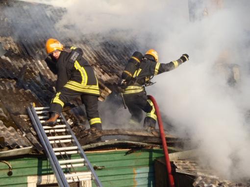 Pasvalio rajone degė ūkinis pastatas