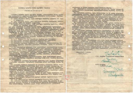 Rastas dar vienas originalus Lietuvos Laisvės Kovos Sąjūdžio Tarybos 1949 m. vasario 16 d. Deklaracijos egzempliorius