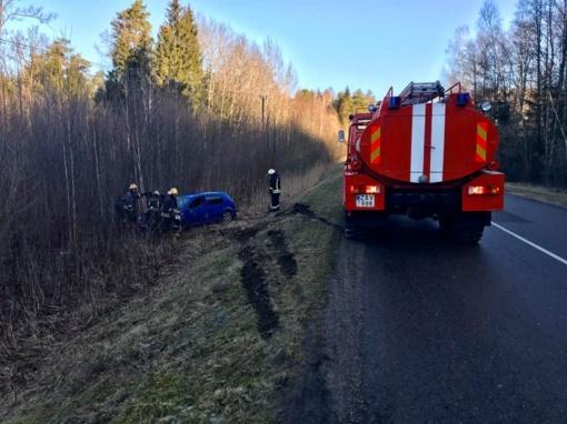 Ukmergės rajone apsivertė automobilis