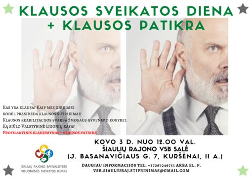 Nemokami Šiaulių rajono visuomenės sveikatos biuro kovo mėnesio renginiai