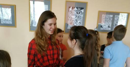 Dzūkijos mokykloje – S. Geronaitytės grafikos darbų paroda