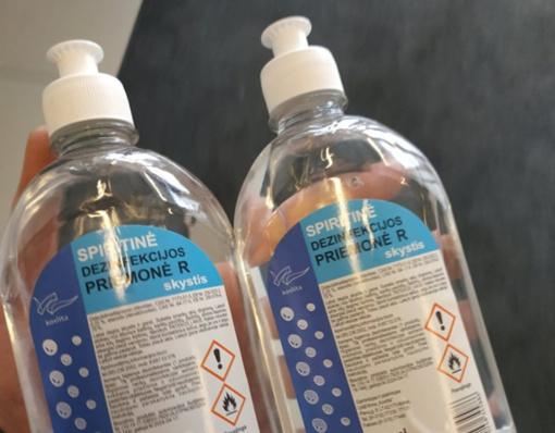 Dezinfekcinio skysčio gamybai trūksta žaliavų