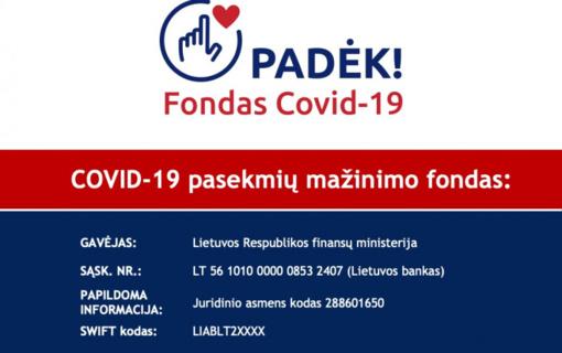 COVID-19 fondas – pagalba medikams, ligoniams, silpniausiems
