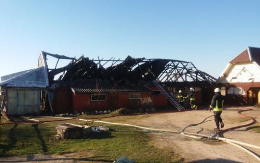 Šilalės rajone kilo didžiulis gaisras: liepsnose pražuvo visas šeimos ūkis