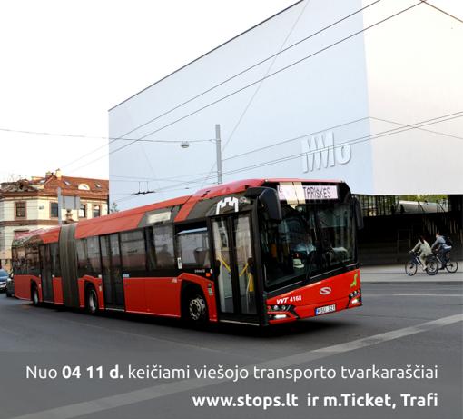 Nuo balandžio 11 dienos Vilniuje keisis autobusų ir troleibusų maršrutų tvarkaraščiai