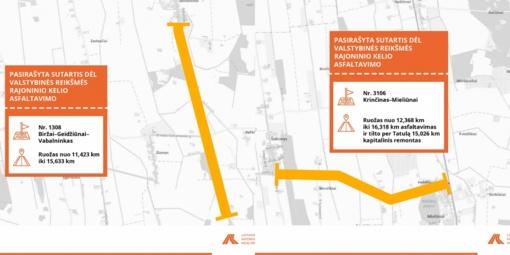 Biržų rajone bus vykdomi dviejų žvyrkelių asfaltavimo darbai