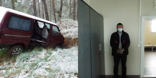 Neblaivus baltarusis mikroautobusu įlėkė į Lietuvos teritoriją ir nuvažiavo į griovį