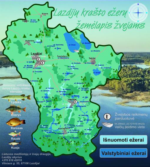Lazdijų krašto ežerų žemėlapis žvejams