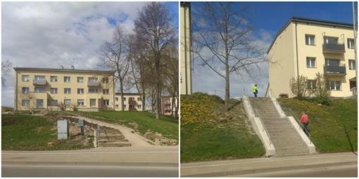 Pagaliau tvarkomi laiptai, vedantys į J. Basanavičiaus gatvę
