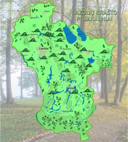 Lazdijų krašto piliakalnių žemėlapis