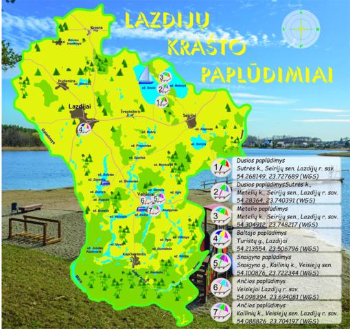 Lazdijų krašto paplūdimių žemėlapis