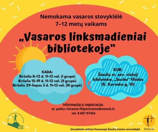 """Nemokama vasaros stovyklėlė """"Vasaros linksmadieniai bibliotekoje"""""""