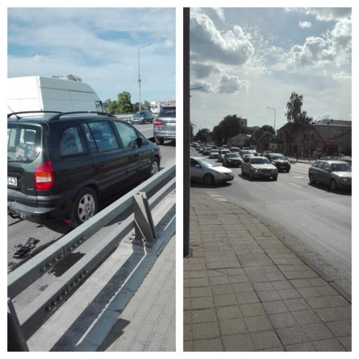 Avarija ant viaduko: susidūrus 3 automobiliams nusidriekė kamščiai