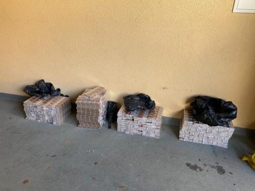 Kretingos rajone įkliuvęs palangiškis gabeno 2 tūkst. pakelių cigarečių