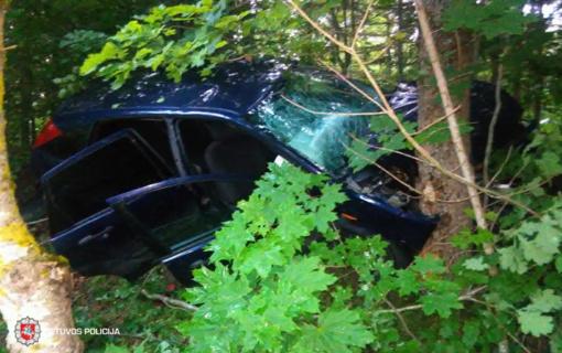Ignalinos rajone nuo kelio nuvažiavo ir į medį trenkėsi automobilis