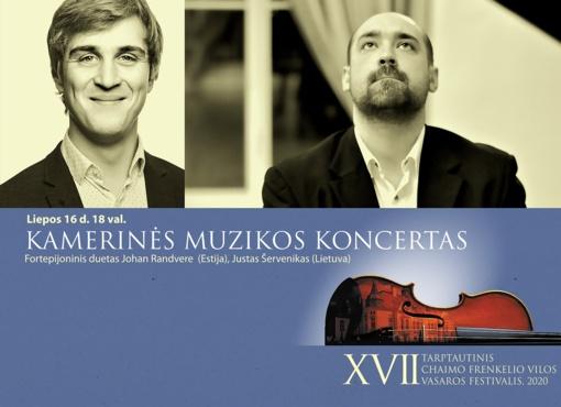 Chaimo Frenkelio vilos vasaros festivalį tęsia Johan Randvere (Estija) ir Justo Šerveniko fortepijoninis duetas