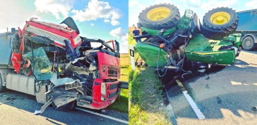 Kalvarijos savivaldybėje nuo smūgio, susidūrus su krovininiu automobiliu, apvirto traktorius