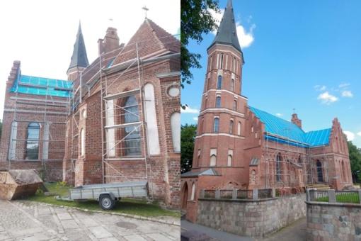 Tvarkomas Vytautinės bažnyčios stogas