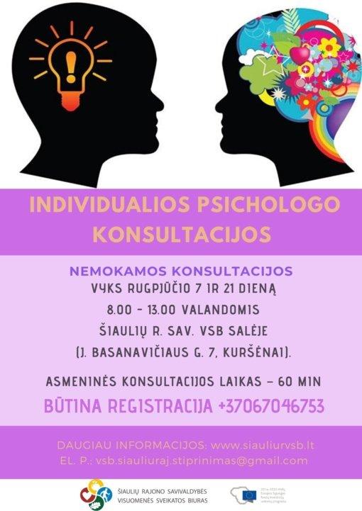 Kviečia į individualias psichologo konsultacijas